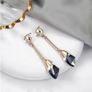 Any 2/$20! Gold Crystal w/Grey Drop Gem Earrings
